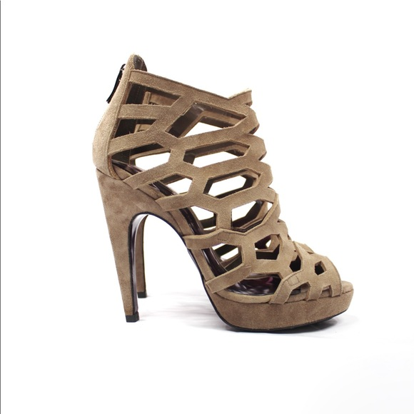 Barbara Bui Taupe Suede Laser Cut Cage Sandals